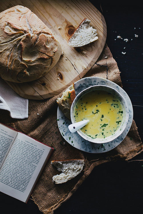 squash soup bread