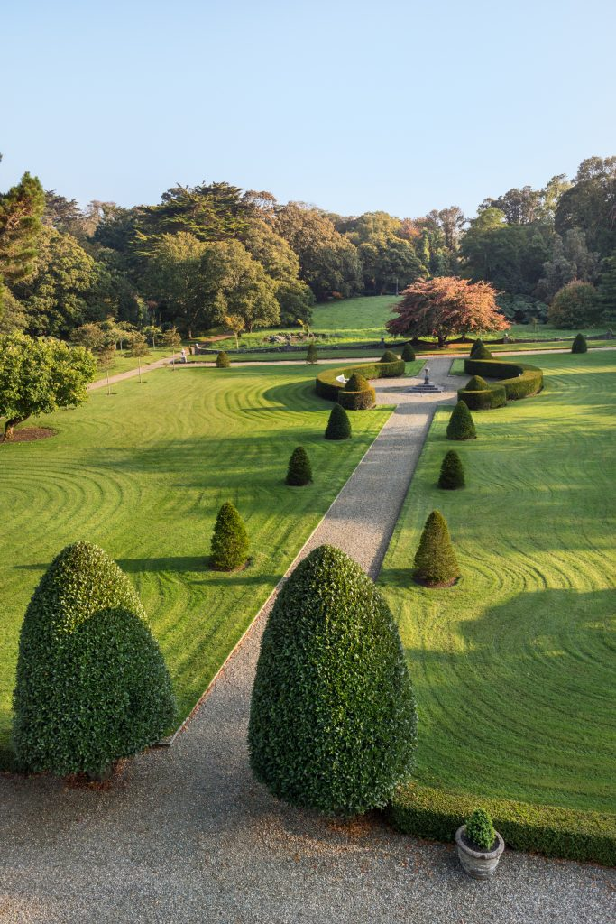Main lawns and topiary viewed from the roof of Glin Castle, Ireland